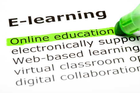 Online education highlighted in green under the heading E-learning.
